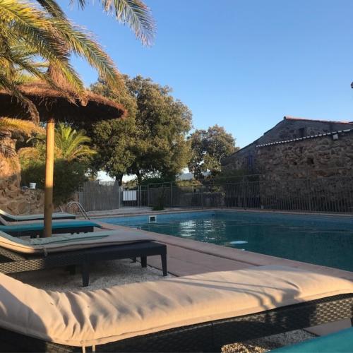 farniente sur les transats du Mas Picagnol autour de la piscine